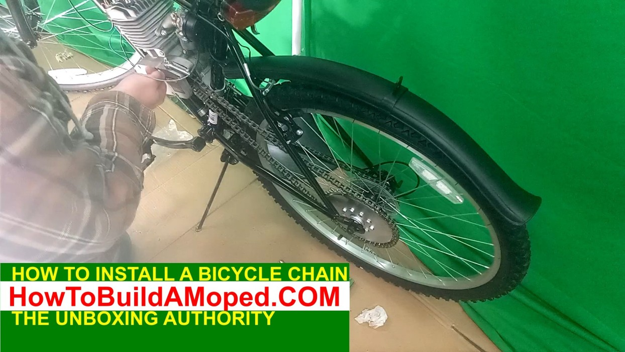 How To Install Bike Chain Motorized Bicycle Bike DriveChain How To Build a Motorized Bicycle Part 14