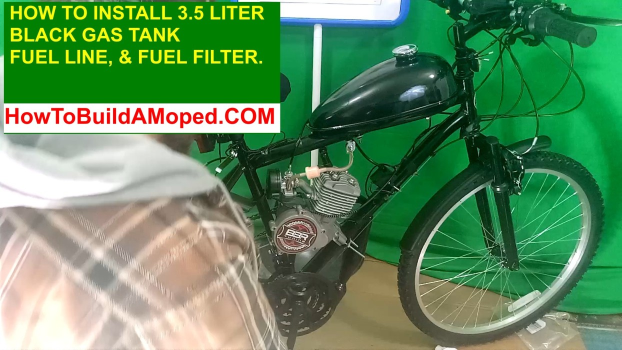 3.5 Liter Black Gas Tank Fuel Line Fuel Filter How To Build a Motorized Bicycle Part 17