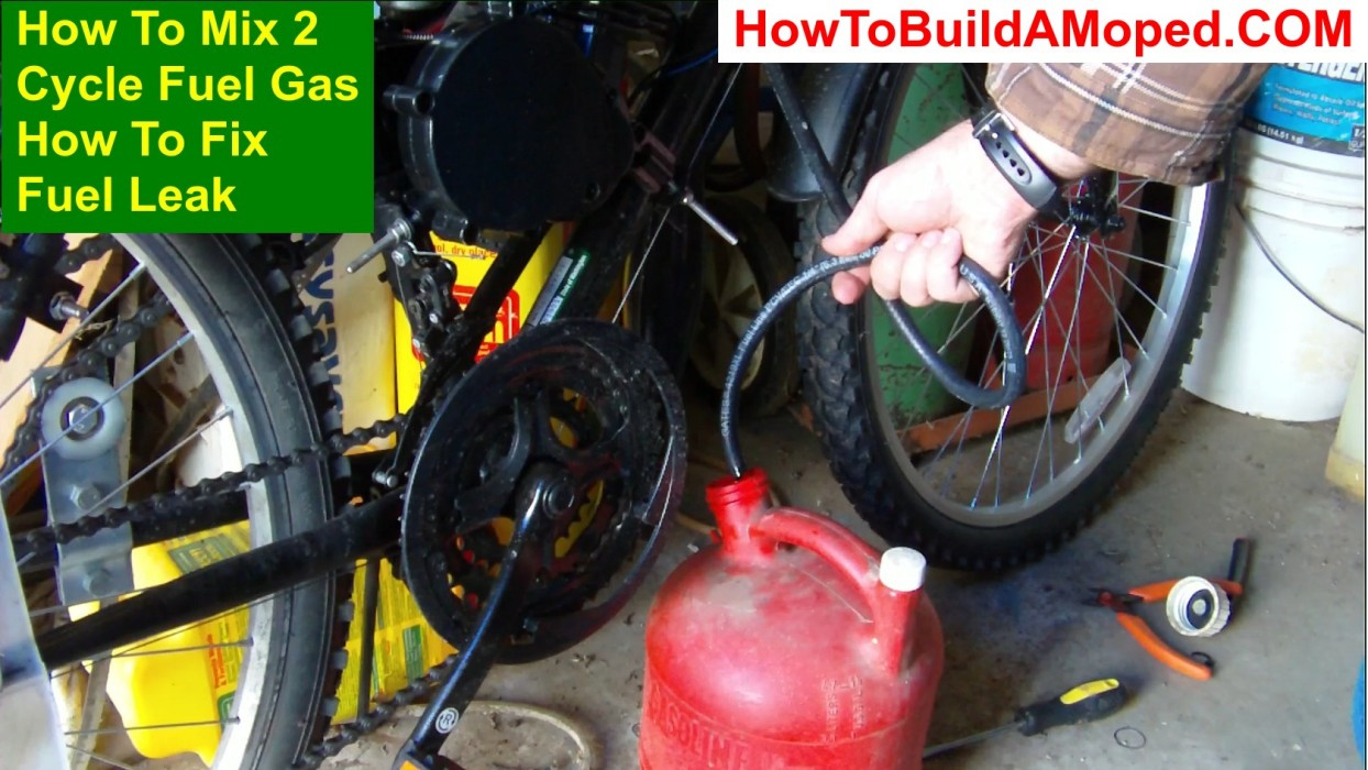 How To Mix 2 Cycle Fuel Gas How To Fix Fuel Leak How To Build a Motorized Bike Part 34