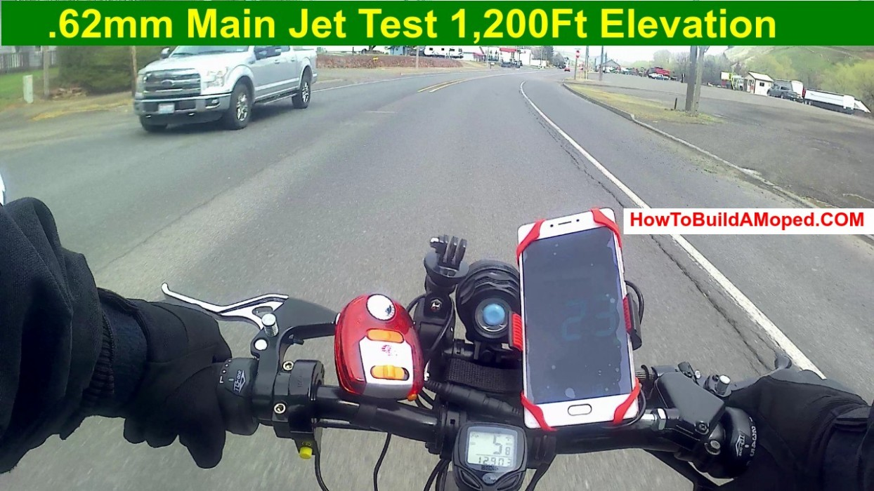 .62mm Main Jet Test 1,200Ft Elevation How To Build a Motorized Bike Part 43